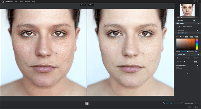 Skin tone in Portrait+