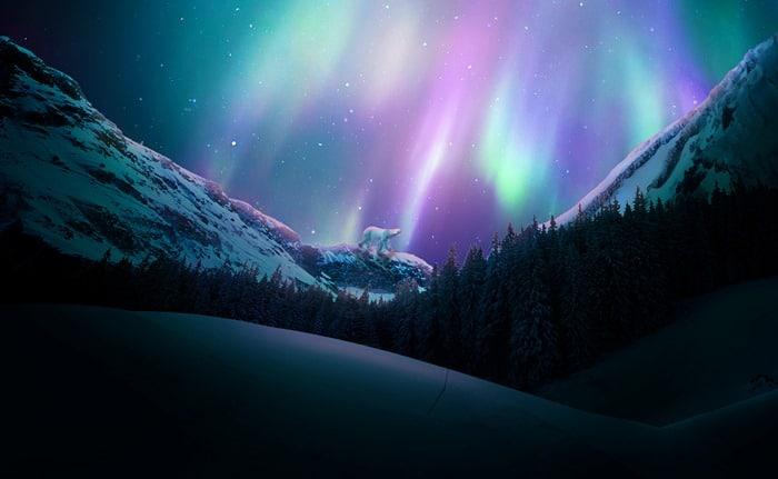 Create a Vivid Winter Aurora Landscape