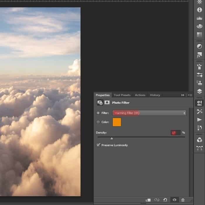 how to add a warming filter in photoshop