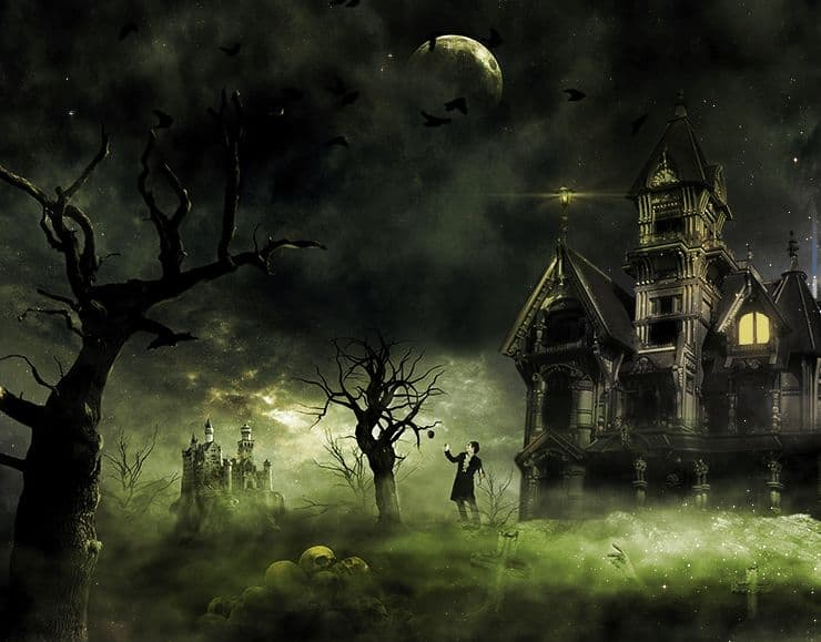 Create this eerie haunted house scene for halloween for Haunted house scene ideas