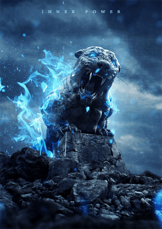 How To Create An Intense Composite Of A Stone Tiger With