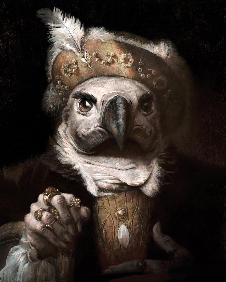 Painting Dog And Bird And Cat Victorian