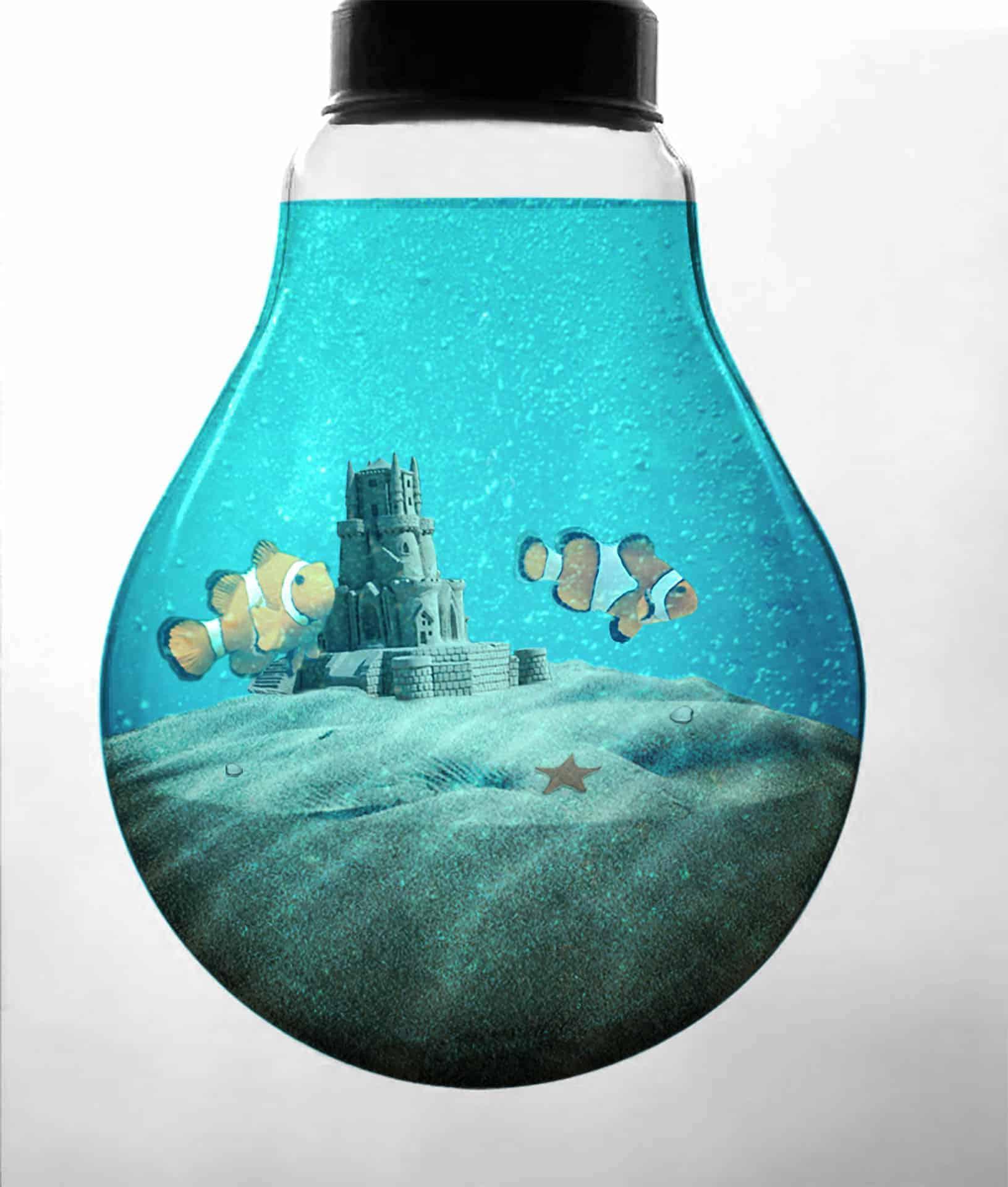 Create an Aquarium Inside a Light Bulb with Photoshop