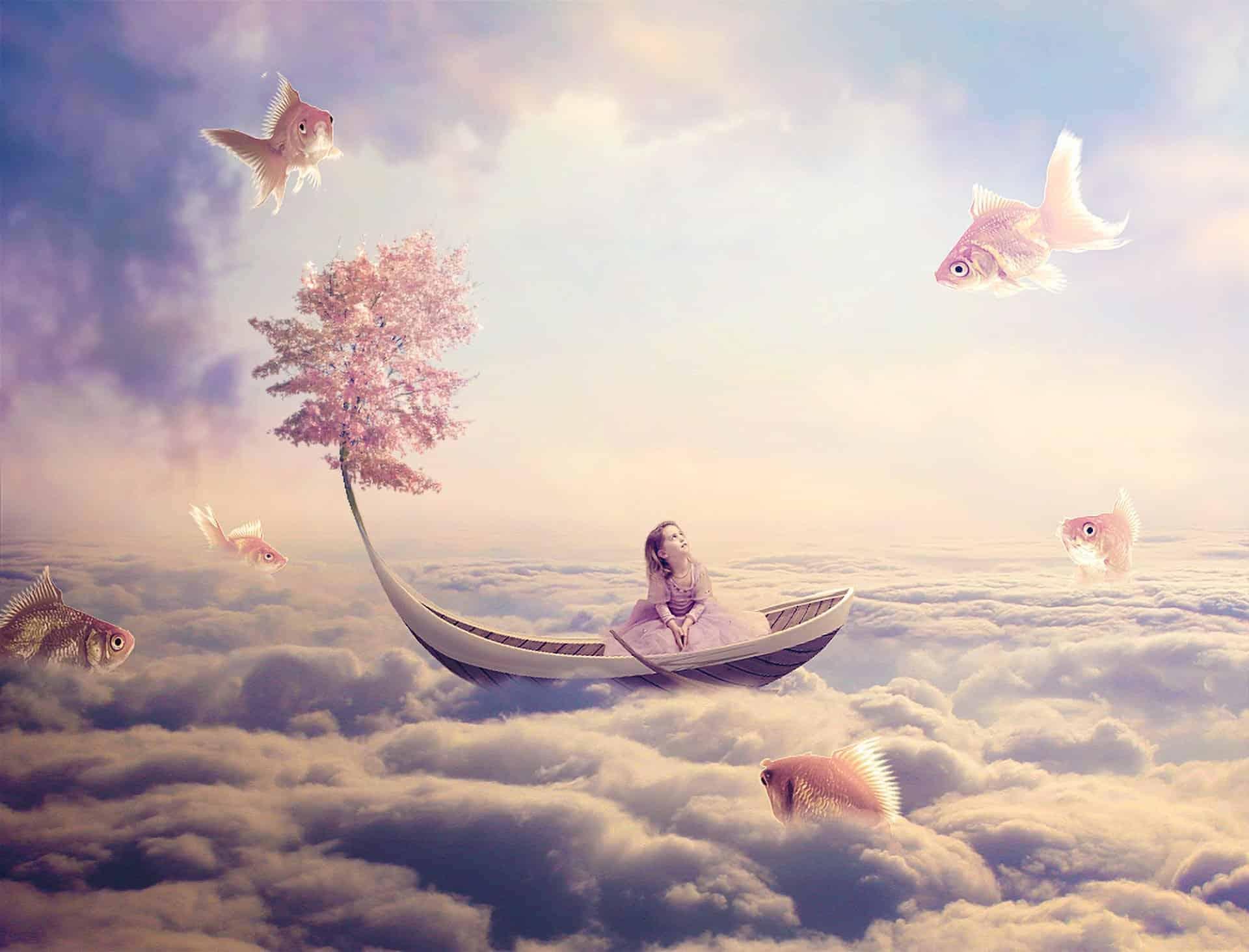 Create a Fantasy Fish Scene above the Sky