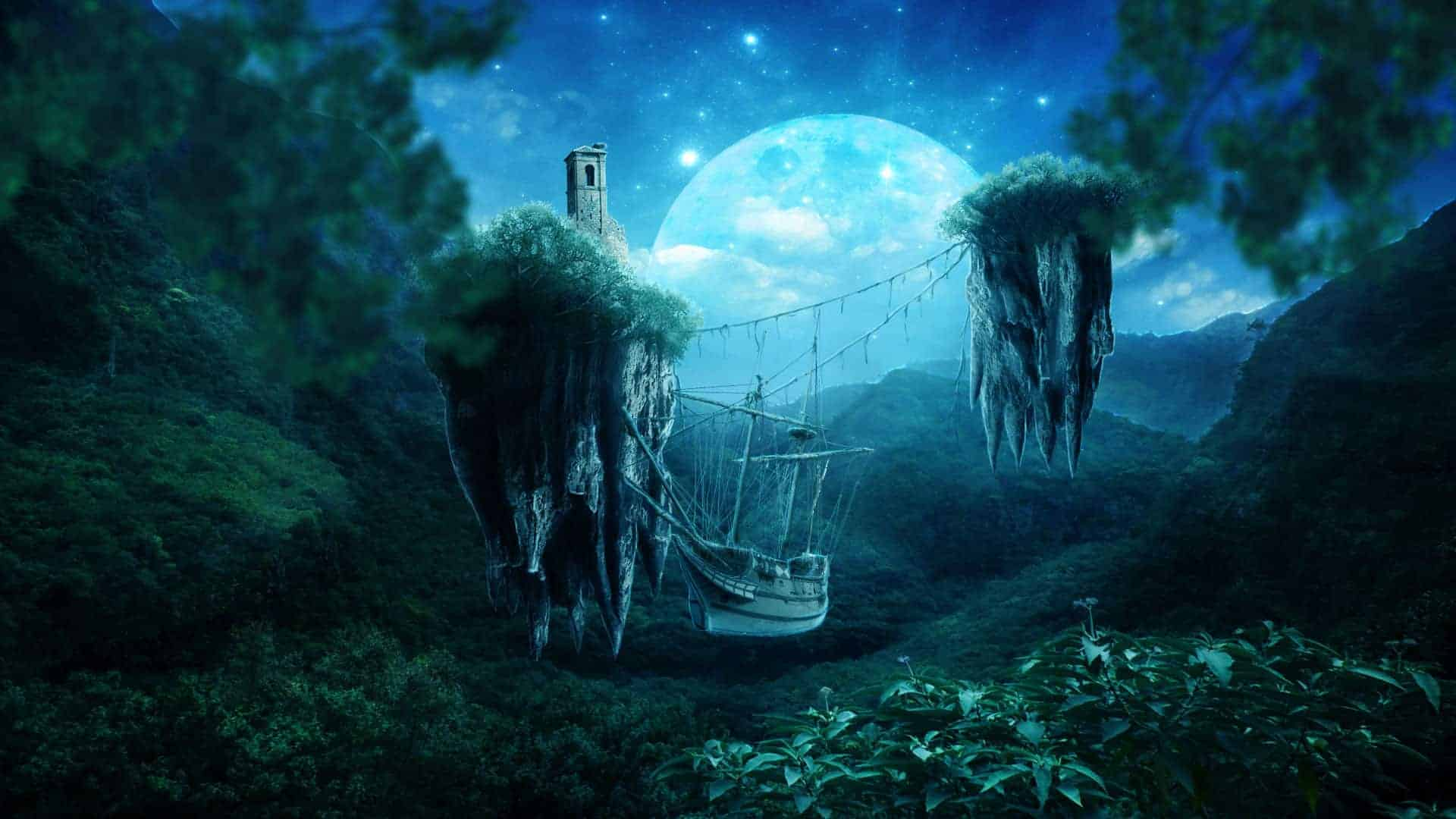 Create an Incredible Twilight Surreal Scene with Floating Islands