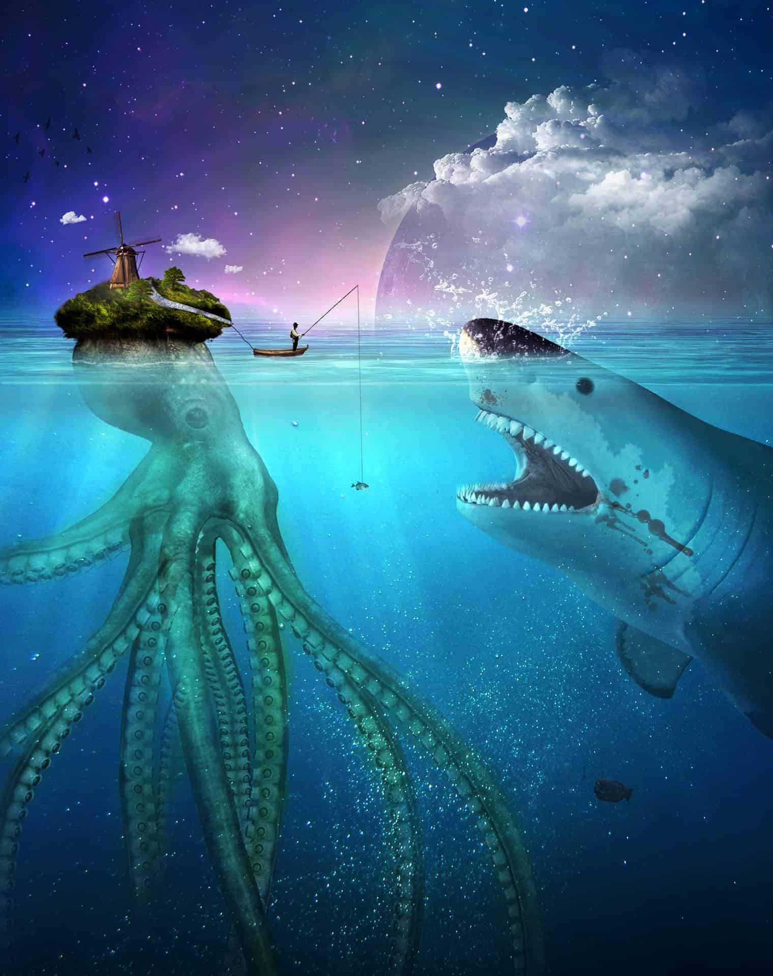 Create This Symbolic Underwater Scene of an Unlucky Fisherman and a Hungry Shark in Photoshop