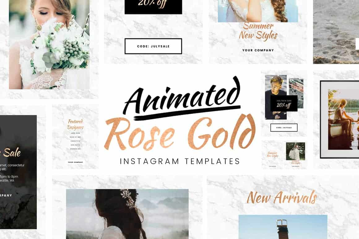 Free Animated Rose Gold Instagram Template for Photoshop